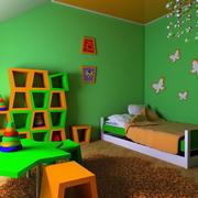 清爽现代风格小型儿童房间绿色设计图