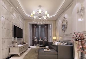 实用与美貌并存的都市客厅窗帘效果图