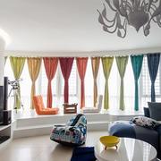 小户型客厅彩虹窗帘欣赏
