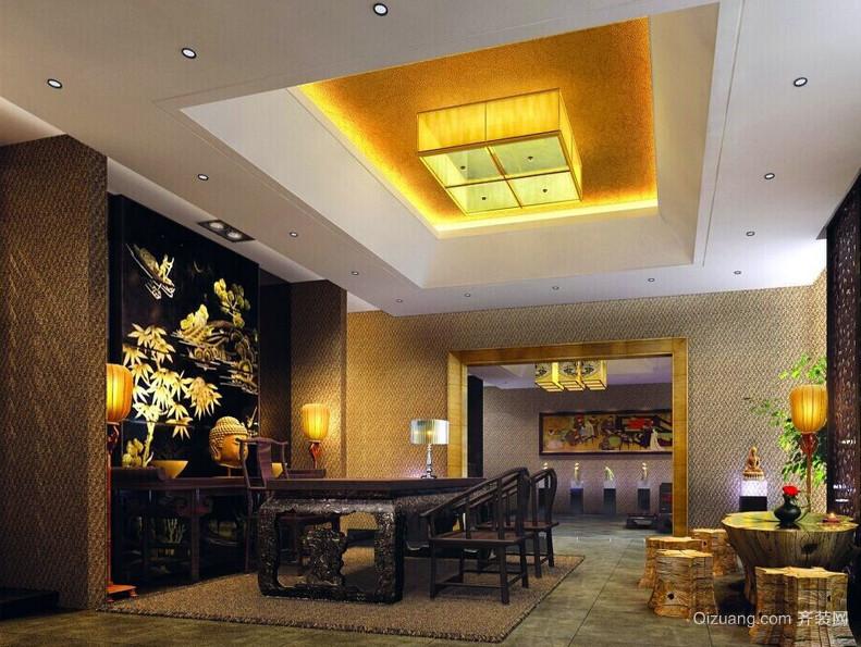 中式古典别墅家庭红木餐桌椅效果图