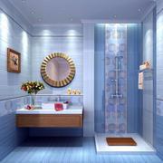 一室一厅现代水蓝色卫生间瓷砖贴图