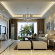 大户型简欧风格客厅室内装修效果图实例欣赏