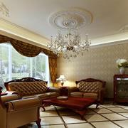 美式大客厅石膏线吊顶