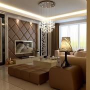 客厅暖色调软包背景墙