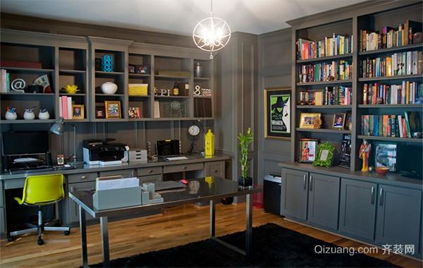 书香门第:现代唯美的大户型书房装修效果图