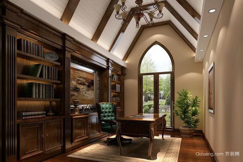 复式楼阁楼美式风格书房装修样板房