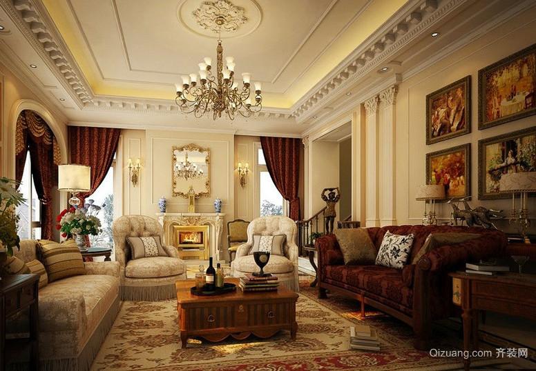 2016别墅美式风格客厅气质装修样板房