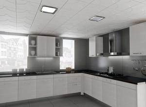 灰白色现代三居室厨房铝扣板吊顶图片