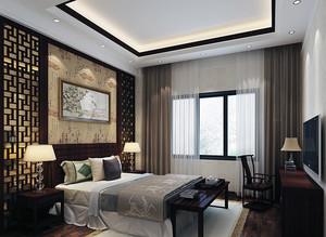 精致大方的大户型中式卧室背景墙装修效果图