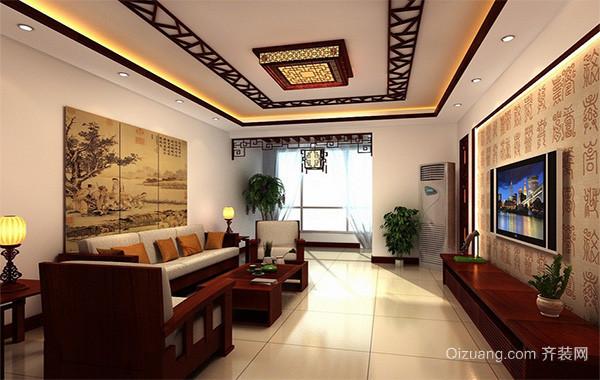 唯美大方的大户型中式客厅室内吊顶装修效果图