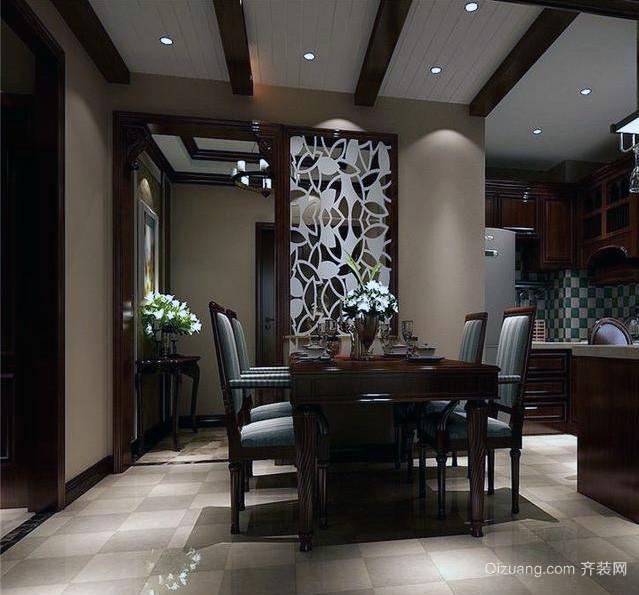 大户型美式风格装修餐厅吊顶装修效果图