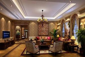 540平米美式大别墅客厅装修风格样板房