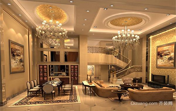 欧式大户型家庭简单客厅背景墙装修效果图