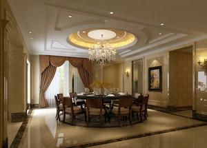 奢华简欧复式楼餐厅现代水晶吊灯图片