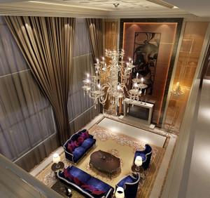 高贵复式楼挑高客厅现代水晶吊灯图片