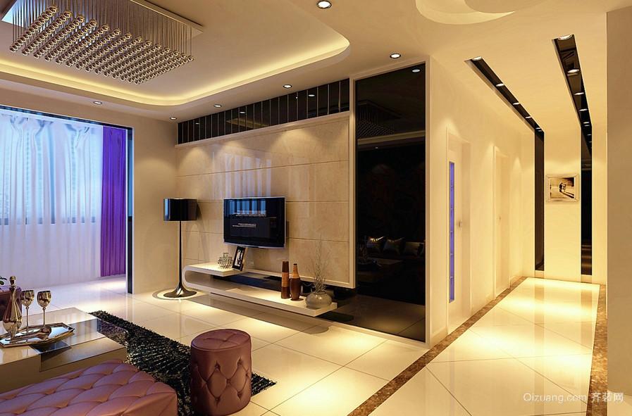 温馨120平米新房客厅电视机背景墙效果图