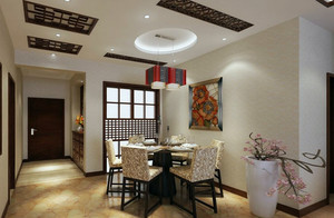 专为老年人塑造的新中式餐厅吊顶效果图