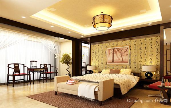 别墅型现代中式卧室背景墙装修家装效果图