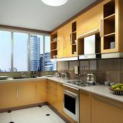 现代宜家的L字型厨房装修设计效果图