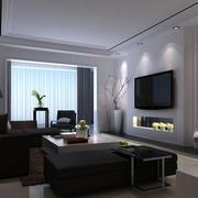 男士公寓客厅简约电视机背景墙效果图