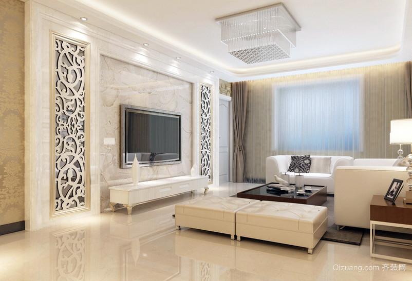 三居室米白色客厅电视机背景墙效果图