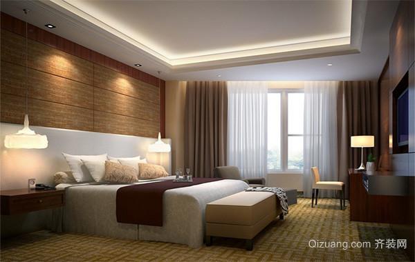 现代欧式风格两室一厅卧室背景墙装修效果图