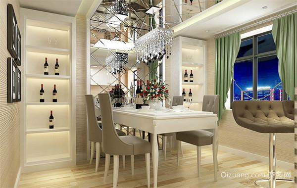 90平米大户型简约欧式餐厅背景墙装修效果图