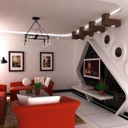 单身公寓个性简约电视机背景墙效果图
