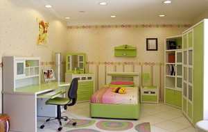 清新绿色儿童房图片