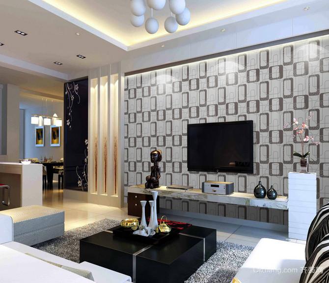 精致两室一厅现代电视机背景墙效果图
