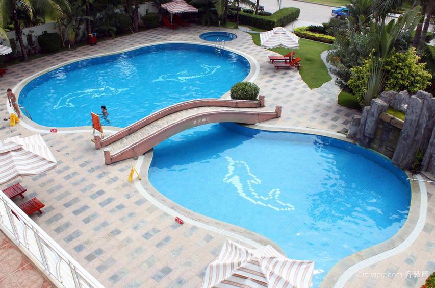 大型度假村精致游泳池设计图片