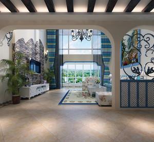 70平米精致的现代地中海风格飘窗装修效果图