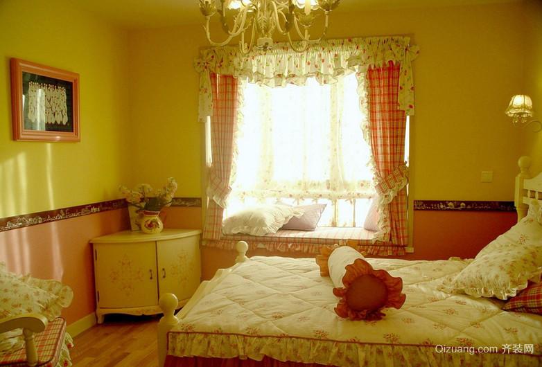 120平米三居室田园卧室飘窗装修效果图