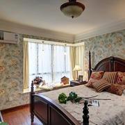 自建别墅美式田园大卧室飘窗设计效果图