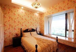 100平米家庭温馨田园卧室飘窗装修效果图