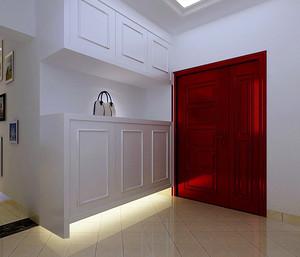 现代三室一厅田园风格白色鞋柜图片