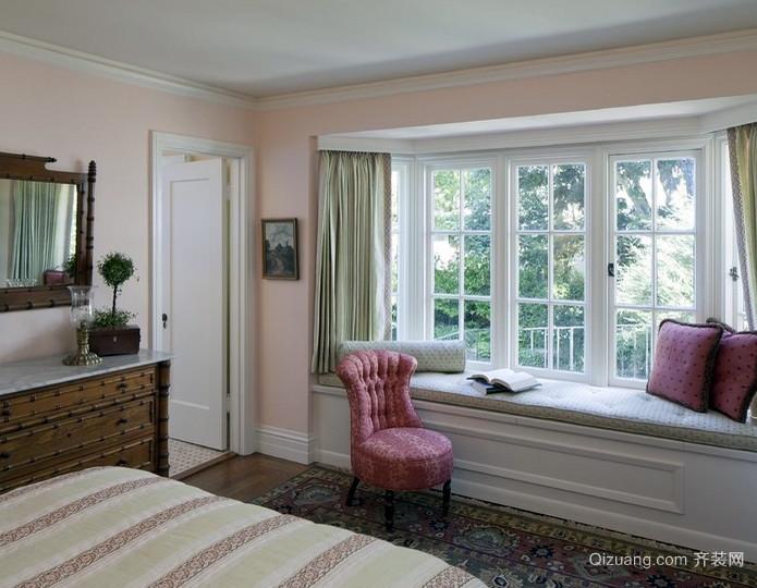 独栋小别墅田园风格卧室飘窗装修效果图