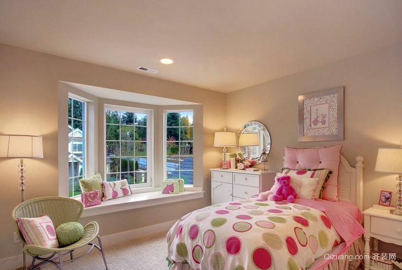 粉色女性小卧室田园飘窗装修效果图