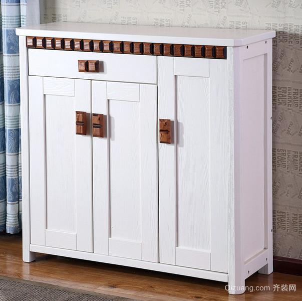 53平米一居室田园风格实木鞋柜装修图