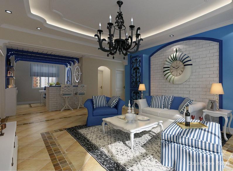 小户型现代家庭装修地中海风格客厅餐厅设计效果图