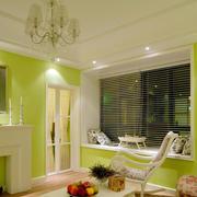 70平米清新绿色家庭飘窗设计装修效果图