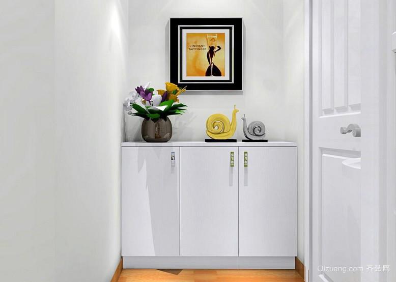 白色单身公寓田园风格鞋柜装修效果图