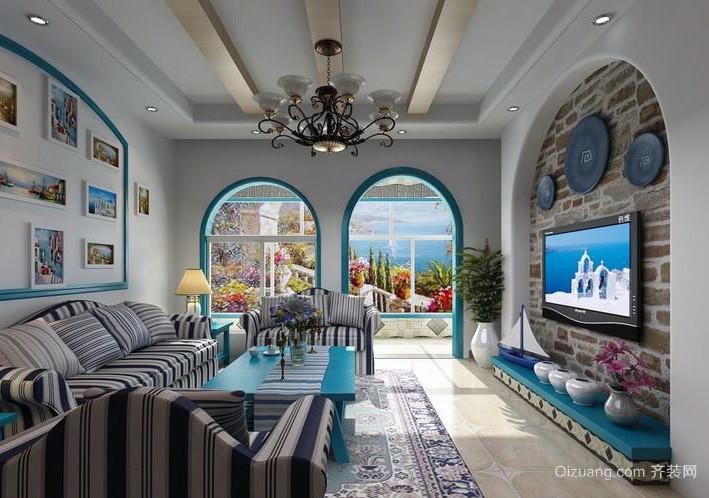 70平米小户型地中海风格飘窗设计效果图