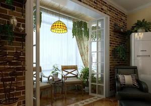 三居室田园风格阳台装修效果图片