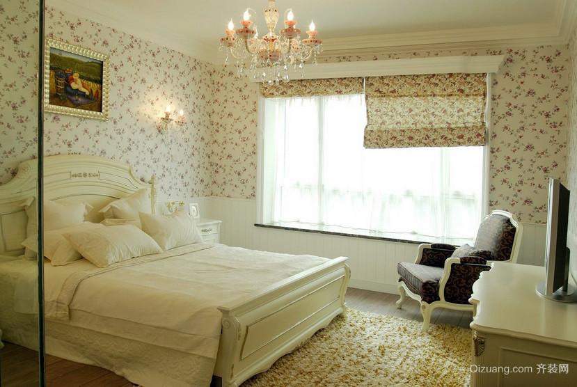120平米女生简欧田园卧室飘窗设计效果图
