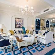 110平米精美的现代地中海风格客厅效果图