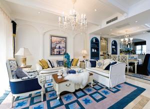 110平米精美的现代地中海风格室内飘窗效果图