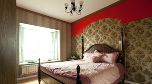 110平米美式田园卧室飘窗设计装修效果图