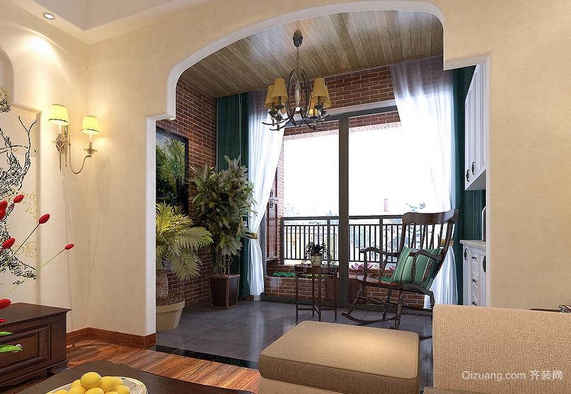 休闲80平米小户型客厅田园阳台装修图片