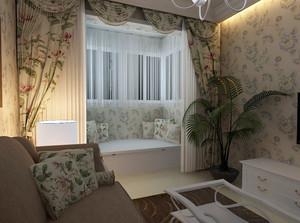 田园风一居室客厅飘窗窗帘装修效果图